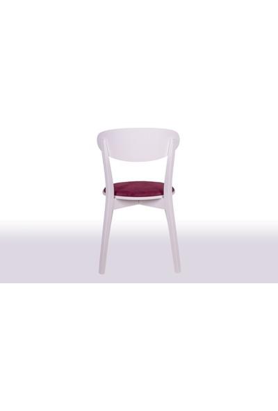 Krl Mobilya Zara Beyaz Lake Ahşap Sandalye