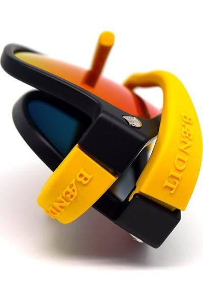 Baendit Ned Kelly Unisex Mat Siyah Çerçeve Kırmızı Lens İnce Sarı Kulaklık Modülleri