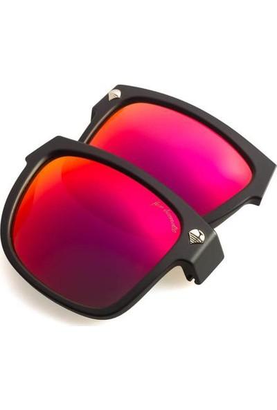 Baendit Ned Kelly Unisex Mat Siyah Çerçeve Kırmızı Lens İnce Beyaz Kulaklık Modülleri