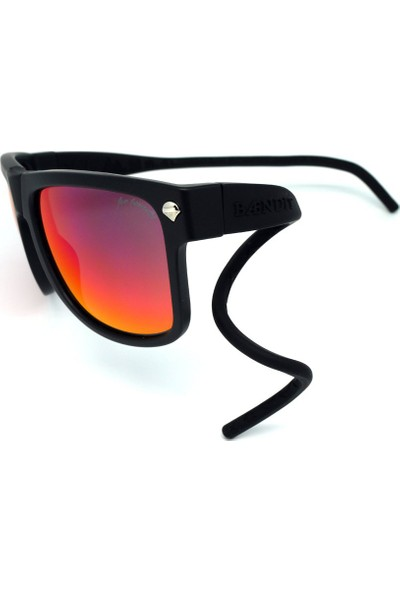 Baendit Ned Kelly Unisex Mat Siyah Çerçeve Kırmızı Lens İnce Siyah Kulaklık Modülleri