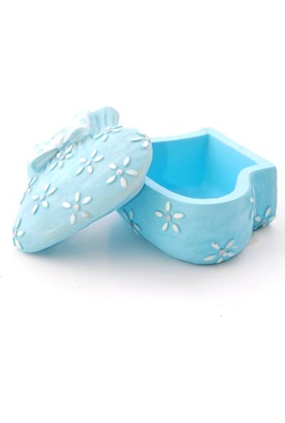 Kanca Ev Çiçekli Patik Kutu Mavi