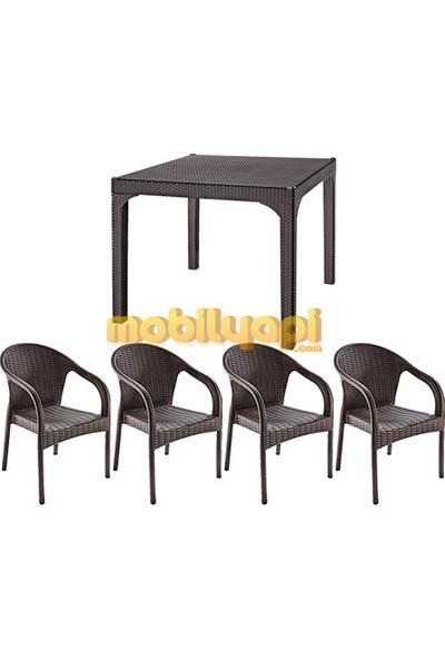 Holiday Plastik Kahverengi Ege Rattan Koltuk Hk-725 (4) - Comfort(90x90) Camlı Masa Hm-710 (1) Set