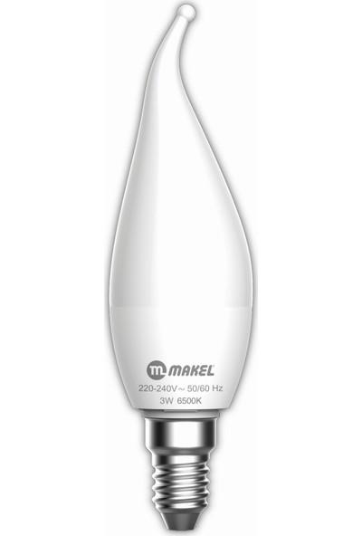 Makel 3W Kıvrık Mum Buji Tipi 6500K E14 Beyaz Işık