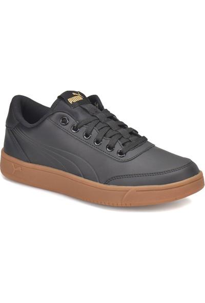 Puma Court Breaker Siyah Altın Erkek Deri Sneaker Ayakkabı