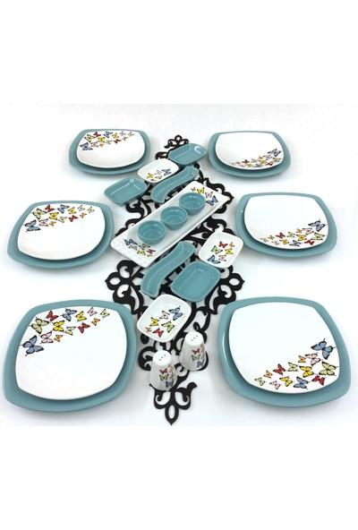 Keramika Kelebek 26 Parça 6 Kişilik Seramik Kahvaltı Takımı Turkuaz