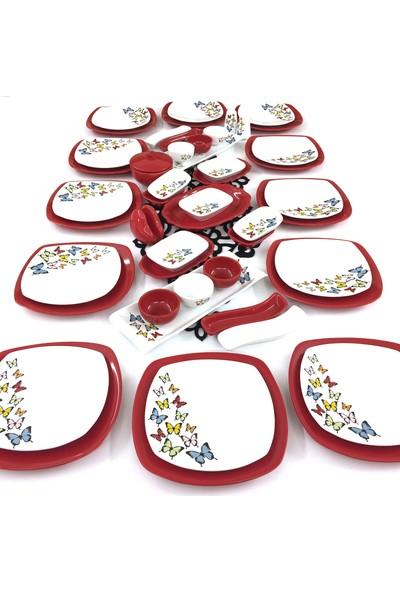 Keramika Kelebek 51 Parça 12 Kişilik Seramik Kahvaltı Takımı Kırmızı