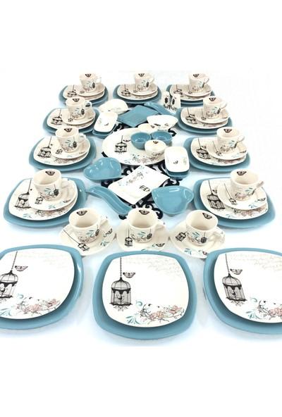 Keramika Retro 67 Parça 12 Kişilik Seramik Kahvaltı Takımı Turkuaz