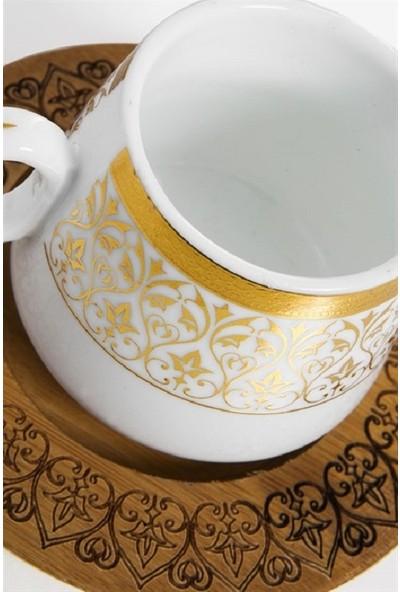 Bambum Ottoman 6 Kişilik Türk Kahvesi Fincanı Takımı Desen Altlıklı