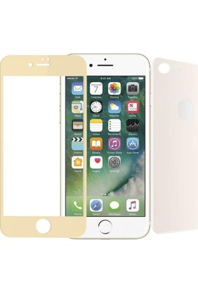 Teleplus iPhone 8 Ön Ve Arka Cam Ekran Koruyucu Gold
