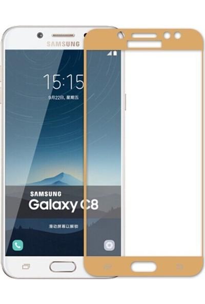 Teleplus Samsung Galaxy C8 Tam Kapatan Cam Ekran Koruyucu Gold