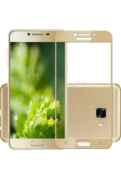 Case 4U Samsung Galaxy C7 Pro Tam Kaplayan Ekran Koruyucu - Nano Fiber - Altın