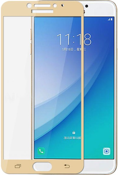 Case 4U Samsung Galaxy C5 Pro Tam Kaplayan Ekran Koruyucu - Nano Fiber - Altın