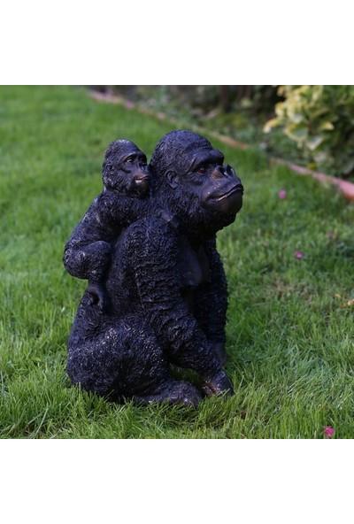Garden Store Dekoratif Anne Ve Yavru Goril Heykeli