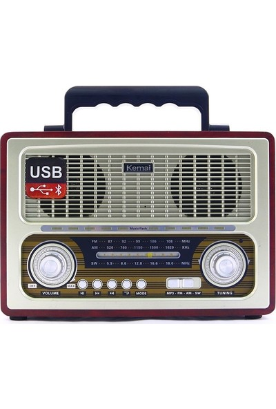 Gringo Md1800Bt Bluetooth Usb Sd Fm Nostaljik Görünümlü Radyo