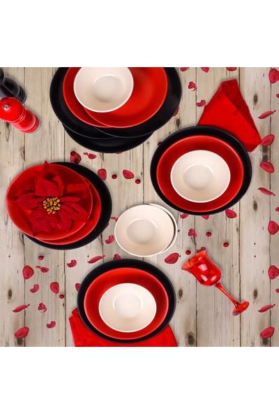 Keramika Mat Siyah-Kırmızı Hitit Yemek Takımı 18 Parça 6 Kişilik