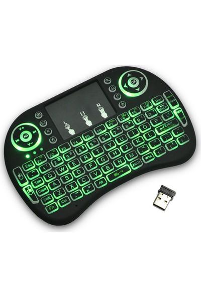 Gringo Işıklı Kablosuz Mini Klavye Smart Tv Televizyon Ps3 Dokunmatik Mouse