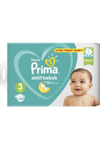 Prima Bebek Bezi Aktif Bebek 3 Beden Midi Ultra Fırsat Paketi 164 Adet