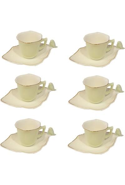 Oyks Porselen Yeşil Kuşlu Kahve Fincan Takımı