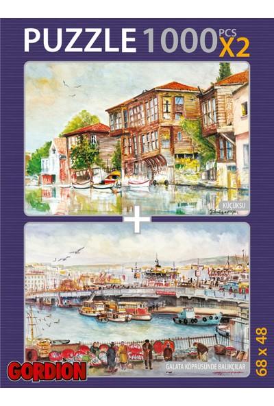 Gordion Küçüksu & Galata Köprüsünde Balıkçılar 2X1000 Parça Puzzle Takım