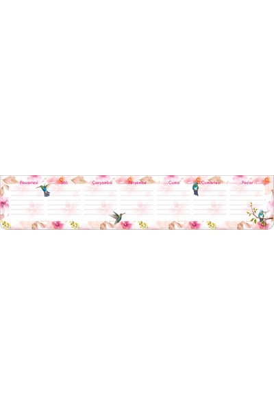 Keskin Color 7,5 x 40 Klavye Önü Haftalık Blok-Çiçek