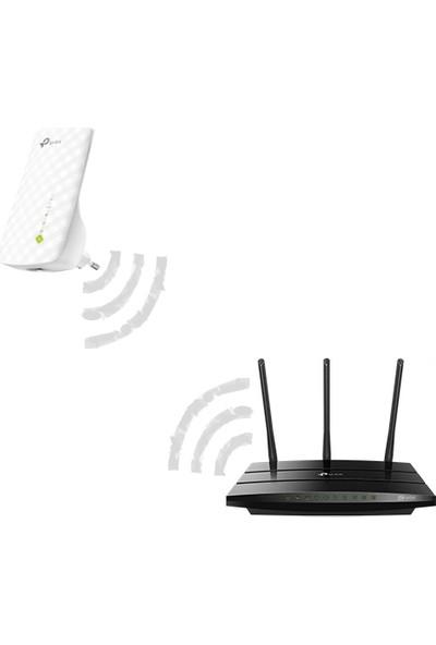 TP-Link Archer VR400 1200Mbps Gigabit VDSL/ADSL2+ Modem + RE200 750Mbps Kablosuz AC Dual Band Menzil Genişletici