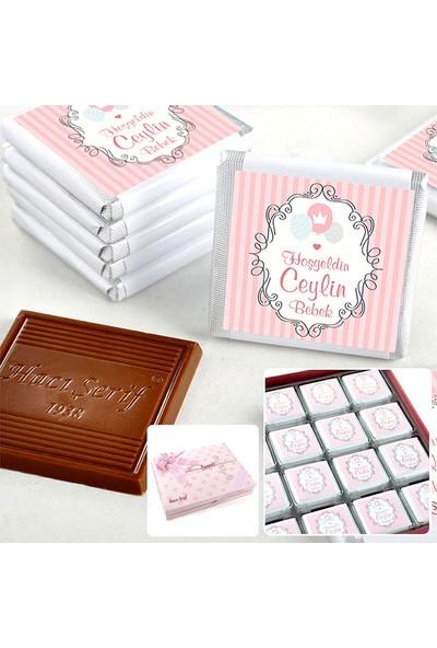 Hacı Şerif İsimli Kız Bebek Çikolatası (72 Madlen Çikolata + Sunum Kutusu)