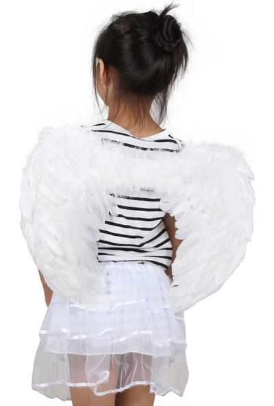 Jw Kız Çocuğu Melek Kostümü Melek Kanat + Taç + Asa Beyaz