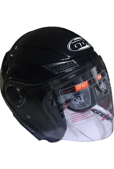 GDR 627 Çenesiz Yazlık Siyah Motosiklet Kaskı Of627 - S