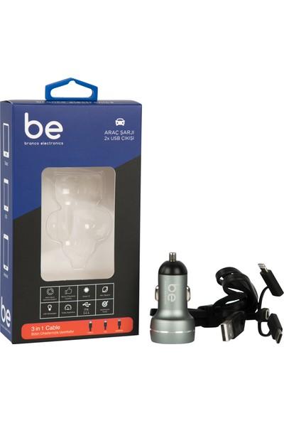 Branco SN-309 Araç Şarjı ve 3 in 1 Şarj Kablosu (Lightning, Micro USB, Type-C)