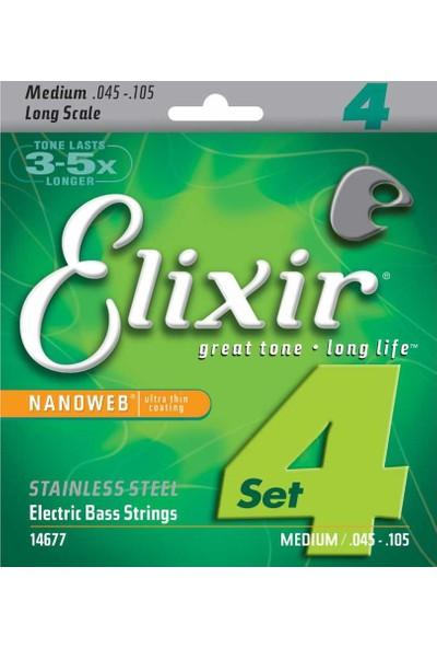 Elixir 14677 Nanoweb Medium 4 Telli Bas Gitar Teli (45-105)