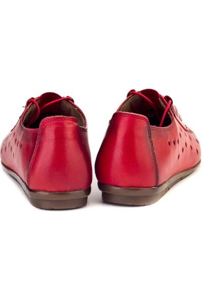 Cabani Lazerli Comfort Günlük Kadın Ayakkabı Kırmızı Deri