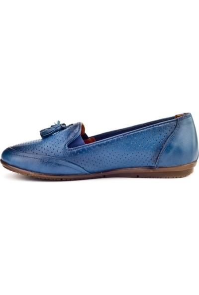 Cabani Fiyonklu Comfort Günlük Kadın Ayakkabı Mavi Deri