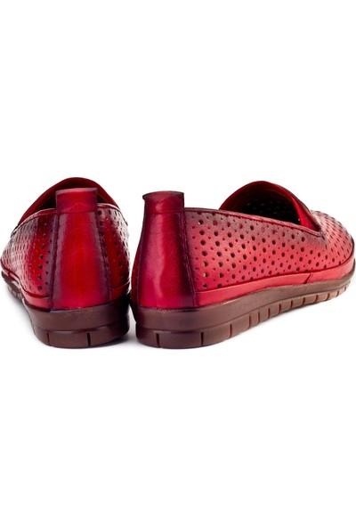 Cabani Streç Detaylı Comfort Günlük Kadın Ayakkabı Kırmızı Deri