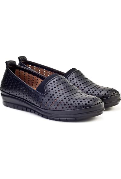 Cabani Streç Detaylı Comfort Günlük Kadın Ayakkabı Siyah Deri