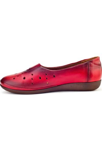 Cabani Streç Detaylı Lazerli Comfort Günlük Kadın Ayakkabı Kırmızı Deri