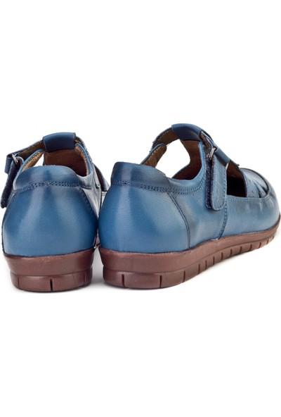 Cabani Cırt Bantlı Comfort Günlük Kadın Ayakkabı Mavi Deri