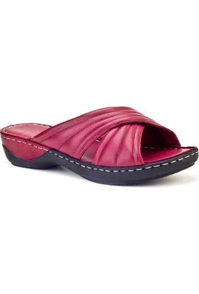 Cabani Comfort Günlük Kadın Terlik Bordo Deri