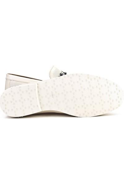 Cabani Lazerli Loafer Günlük Erkek Ayakkabı Bej Napa Deri