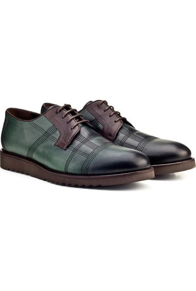 Cabani Bağcıklı Günlük Erkek Ayakkabı Yeşil Deri
