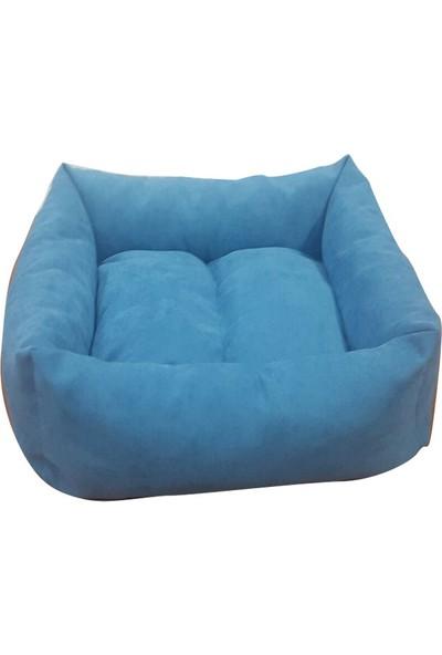 Mrs.Pillow Mavi Petek Desenli Kedi Ve Köpek Yatakları 45X45Cm