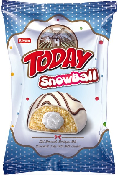 Elvan Today Snowball Süt Kremalı Kartopu Kek 60 gr 24 Adet (1 Kutu)
