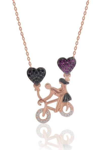 Söğütlü Silver Bisikletli Aşıklar Kolyesi Sgtl3574