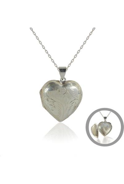 Söğütlü Silver Kalpli Kapaklı Kolye Sgtl4604