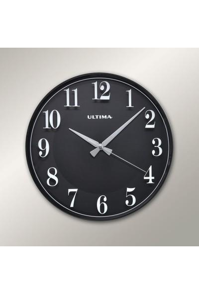 Ultima 0251 BB İnce Siyah Çerçeve Siyah Kadran Duvar Saati