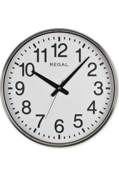 Regal 0638 SW Gümüş Metalize Yuvarlak Duvar Saati