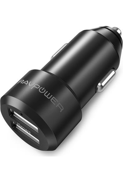RAVPower RP-VC006 Ultra İnce/Ufak 24W 4.8A Çift Çıkış iSmart Araç Şarjı Siyah, 75-02000-016