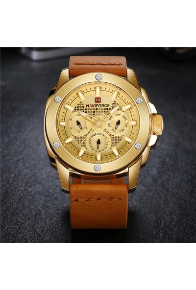Naviforce Altın Renk Çelik Erkek Kol Saati - 9116