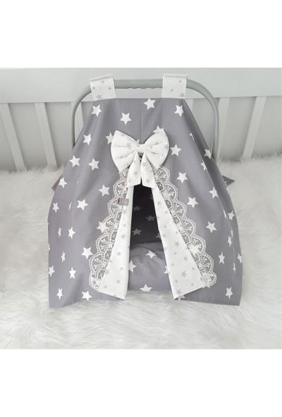Jaju Baby Gri Beyaz Dantelli Puset Örtüsü + İç Kılıfı