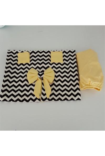 Jaju Baby Siyah Beyaz Zigzaglı Sarı Desenli Puset Örtüsü + İç Kılıf