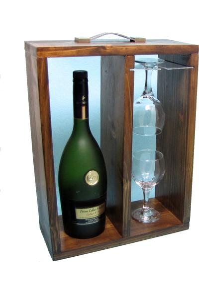 B&D Masif Ahşap Masa Üstü Şaraplık